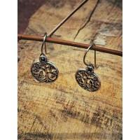 Short Oxidized Silver Tree Earrings For Women