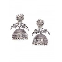Peacock Delicately Crafted Tribal Jewellery Silver Plated Jhumkis