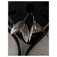 Floral Oxidized Silver Earrings With Hanging Short Jhumkis