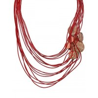 Deep Red Poised Layer Statement Necklace