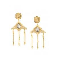 Combo of Pink and Blue Stone Golden Dangler Earrings