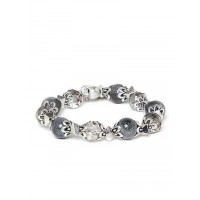 Grey and Silver Tree Charm Bracelet