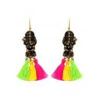 Ethnic Ganesha Pom Pom Earrings