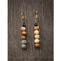 Beaded Camel Jasper Party Wear Earrings
