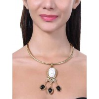 Black Onyx Howlite Semi Precious Pendant Choker Fashion Necklace