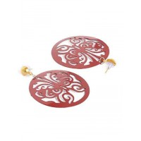 Brown Disc Metal Earrings