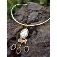 Black Onyx Howlite Semi Precious Pendant Choker Fashion Necklace