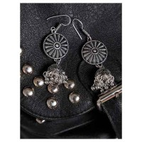 Patterned Oxidized Silver Long Jhumki Earrings
