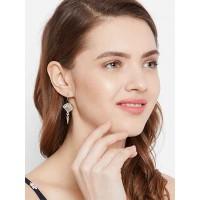Short Oxidized Silver Shell Earrings