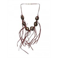Wine Stone Layer Fringe Statement Necklace