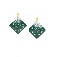Green Square Metal Earrings