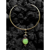Uncut Lime and Black Druzy Semi Precious Handmade Jewellery Pendant Fashion Necklace