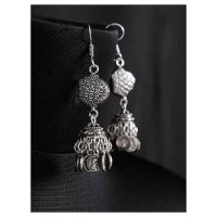 Long Oxidized Silver Jhumki Earrings With Hanging Coins