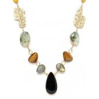Lemon Prehnite, Tiger Eye, Labrodorite and Black Onyx Semi Precious Jewellery Fashion Necklace