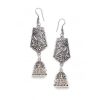 Peacock Motifs Oxidized Silver Long Jhumki Earrings With Pretty Hangings