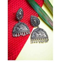 Antique Intricately Handcrafted Tribal Jewellery Silver Plated Danglers