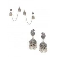 Combo Of 2 Oxidized Silver Jhumkas Earrings For Women