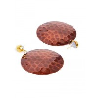 Bronze Disc Metal Earrings