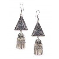 Patterned Oxidized Silver Long Jhumki Earrings With Silver Hangings