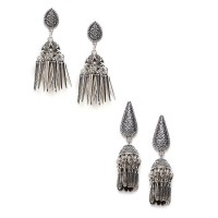 Patterned Drop Oxidized Jhumkas and Embellished Oxidized Jhumkas Combo