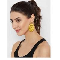 Yellow Disc Metal Earrings