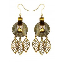 Studded Golf Coin Leaf Party Wear Earrings