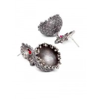 Designer Red Stone Studded Tribal Jewellery Silver Plated Jhumkis