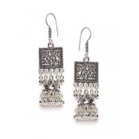 Floral Patterned Oxidized Silver Long Earrings With Hanging Bells