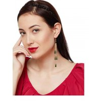 Suave Emerald Long Sleek Western Earrings