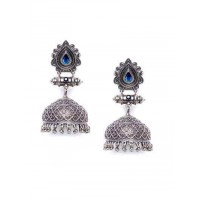 Designer Garnet Colored Stone Studded Tribal Jewellery Silver Plated Jhumkis