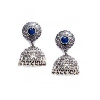 Delicate Blue Stone Embellished Tribal Jewellery Silver Plated Jhumkis