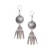 Disc Design Oxidized Silver Long Jhumki Earrings With Pretty Hangings