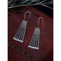 Patterned Oxidized Silver Dangler Earrings