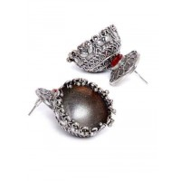 Garnet Colored Stone Embellished Tribal Jewellery Silver Plated Jhumkis