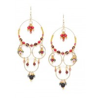 Chandelier Artificial Earrings With Red and Black Crystal Beads