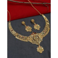Floral Golden Necklace Set with Red and Green Stones