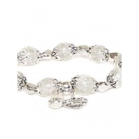 White and Silver Heart Charm Bracelet