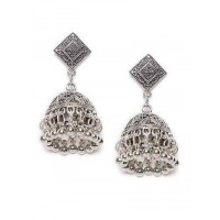 Diamond Design Oxidized Silver Short Jhumki Earrings With Hanging Bells