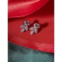 American Diamond Leaf Earrings with Green Stone
