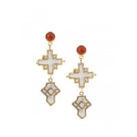 Combo of Two Brass Dangler Earrings Encrusted with Semi-Precious Gemstones