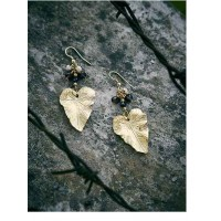 Golden Leaf Artificial Earrings With Crystal Beads