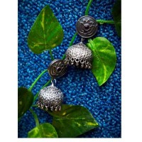 Garnet Colored Stone and Lotus Embellished Tribal Jewellery Silver Plated Jhumkis