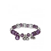 Purple and Silver Flower Charm Bracelet