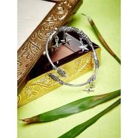 Oxidized Silver Cuff Bracelet With Star Charms