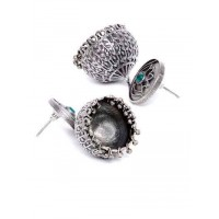 Green Stone and Lotus Embellished Tribal Jewellery Silver Plated Jhumkis