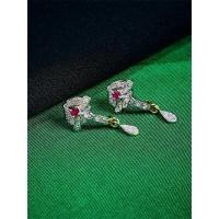 American Diamond Daywear Dangle Earrings with Red Stone