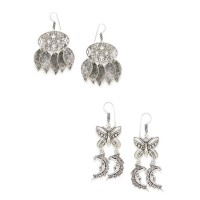 Combo of Oxidized Dream-catcher, Butterfly and Moon Earrings