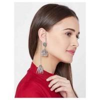 Oxidized Silver Kashmiri Short Jhumki Earrings With Pretty Hangings
