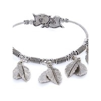 Oxidized Silver Cuff Bracelet With Leaves Charms