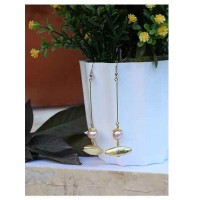 Pearl and Gold Dangling Handmade Jewellery Earrings